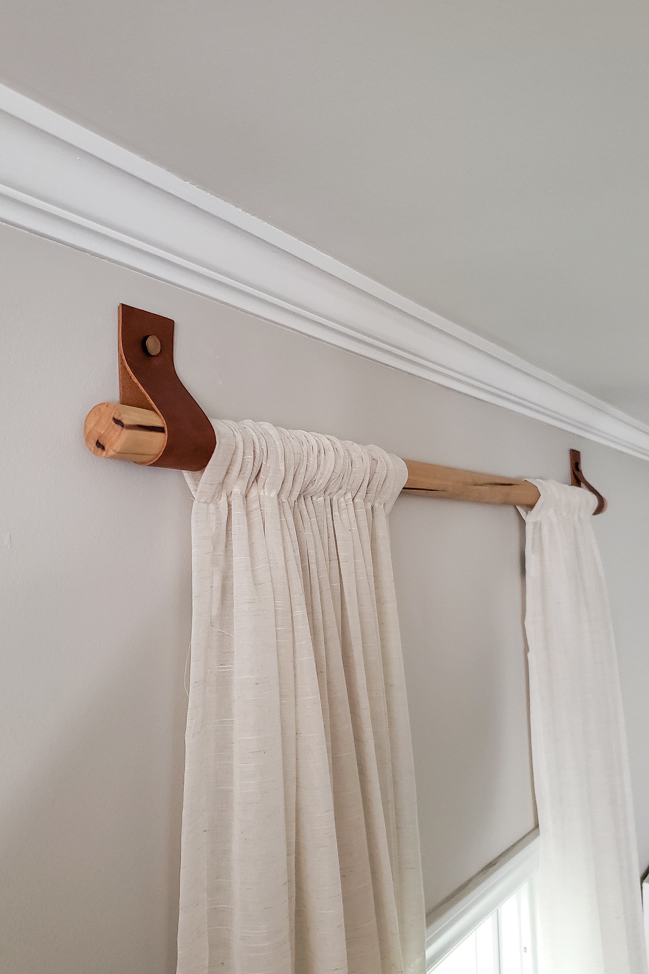 Diy Wood Curtain Rods With Leather Straps For Under 10 Dani Koch